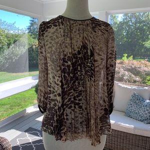 Tibi Leopard Print Pleated Sheer Blouse